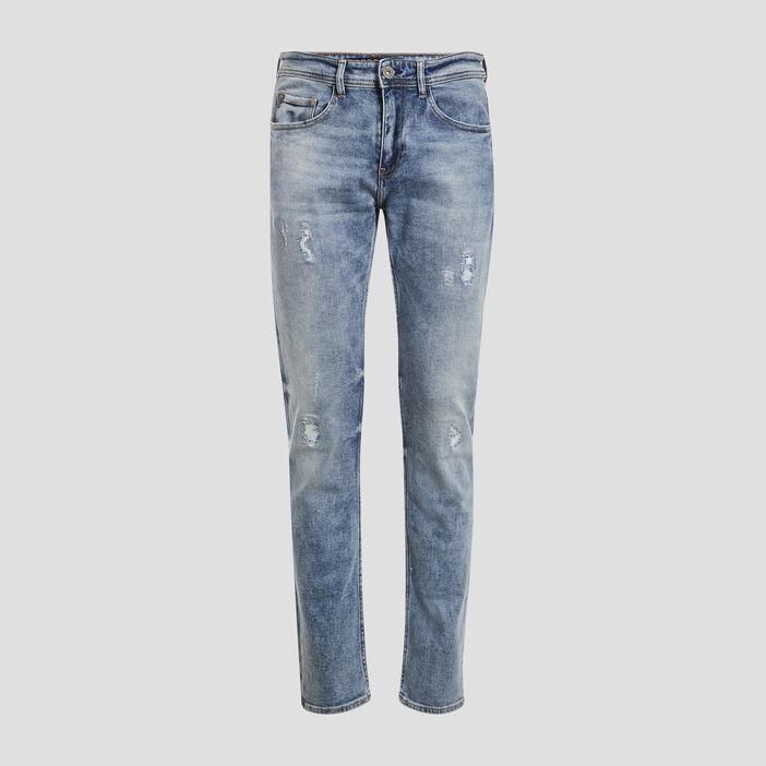 Jeans straight détails destroy denim bleach homme