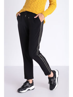 Pantalon chino taille a cordon noir femme