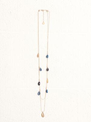 Collier 2 rangs a coquillages bleu fonce femme