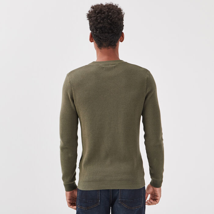 Pull manches longues vert kaki homme