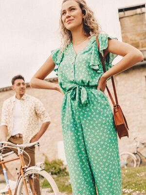 Combinaison pantalon ceinture vert menthe femme