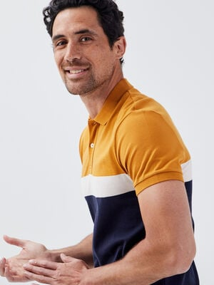 Polo manches courtes jaune moutarde homme
