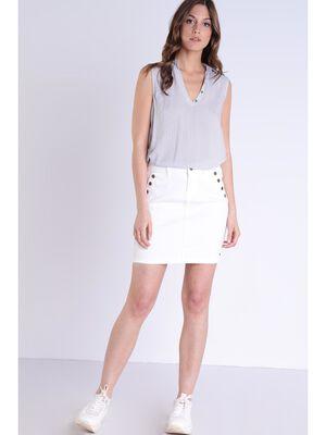 Jupe en jean effet pont blanc femme