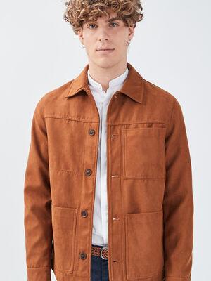Veste droite effet suedine marron homme