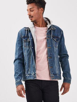 Veste droite en jeans denim stone homme
