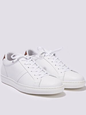 Baskets plates cuir blanc homme