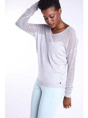 pull col rond femme fils metallises gris clair