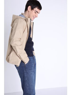 Veste oversize a capuche beige homme