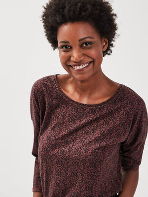 T shirt Instinct manches 34 rouge fonce femme