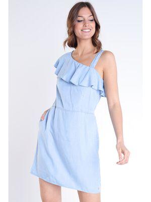 Robe asymetrique sans manches denim used femme