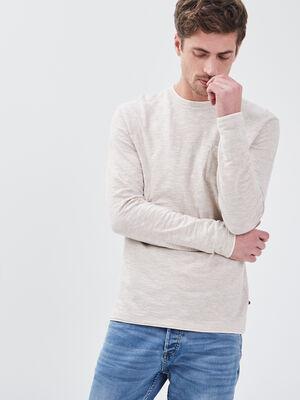 T shirt manches longues beige homme