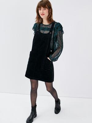 Robe droite velours cotele noir femme