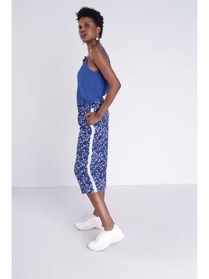 Pantalon fluide bleu femme