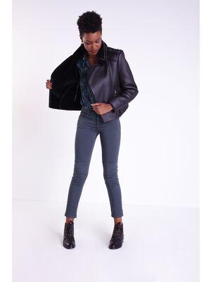 Veste zippee ajustee bimatiere noir femme