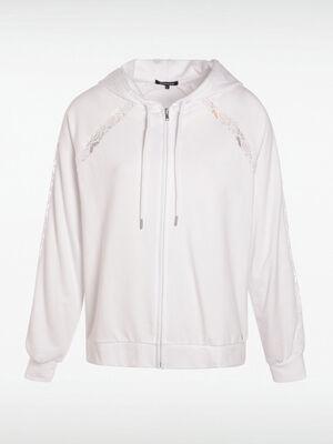 Sweat zippe blanc femme