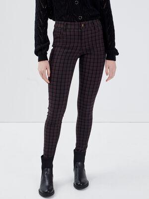 Pantalon skinny bordeaux femme