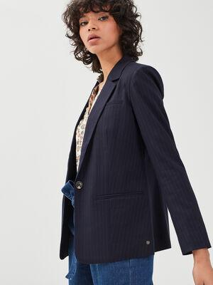 Veste blazer droite bleu fonce femme