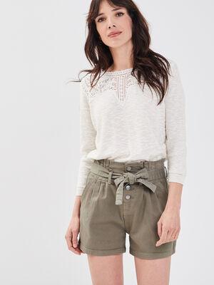 Short large a ceinture nouee vert kaki femme