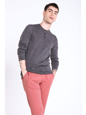 Tricot coupe droite col rond gris fonce homme