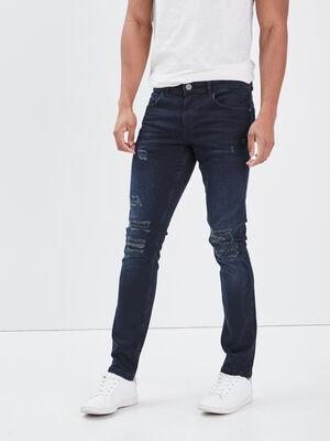 Jeans skinny details destroy denim brut homme