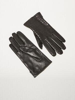 Gants perfores en cuir noir femme