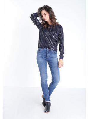 Jeans skinny 5 poches denim stone femme