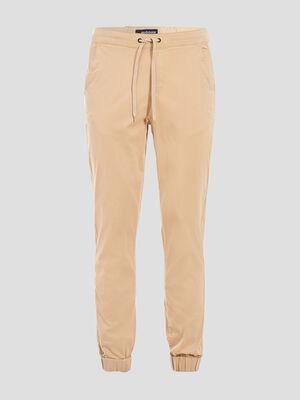 Pantalon droit bas resserre beige homme