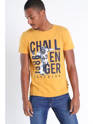 T shirt manches courtes jaune fonce homme