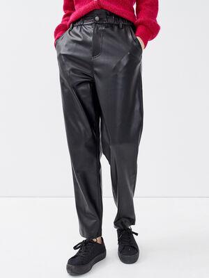 Pantalon slouchy denim noir enduit femme