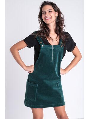 Robe salopette effet velours vert canard femme