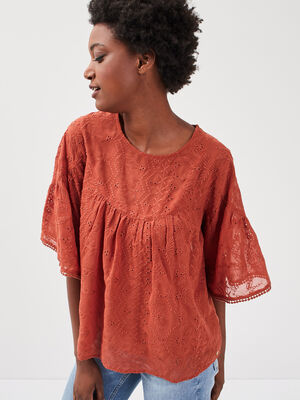 T shirt manches 34 vieux rose femme