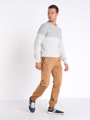 Pantalon cargo ceinture cordon marron clair homme