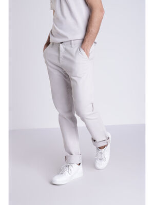 Pantalon chino gris clair homme