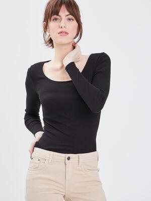 T shirt maille unie Instinct noir femme