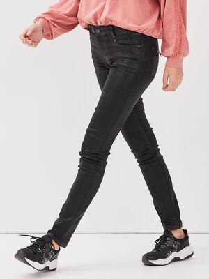 Jeans slim details zippes denim noir enduit femme