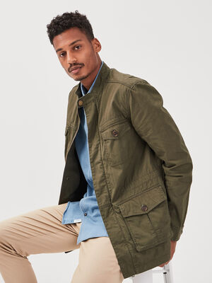 Blouson droit avec poches vert kaki homme