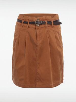 Jupe droite en coton marron femme