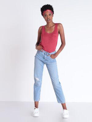 Jeans mom denim delave dechire denim used femme
