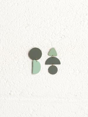 Boucles doreilles pendantes vert kaki femme