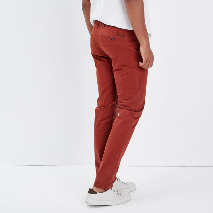 Pantalon slim Instinct chino marron cognac homme