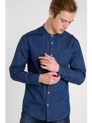chemise col mao homme denim denim brut