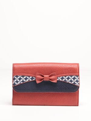 Portefeuille avec noeud rouge fonce femme