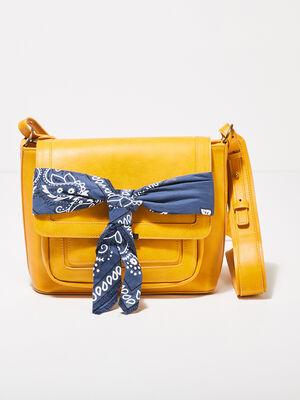 Sac bandouliere detail foulard jaune or femme