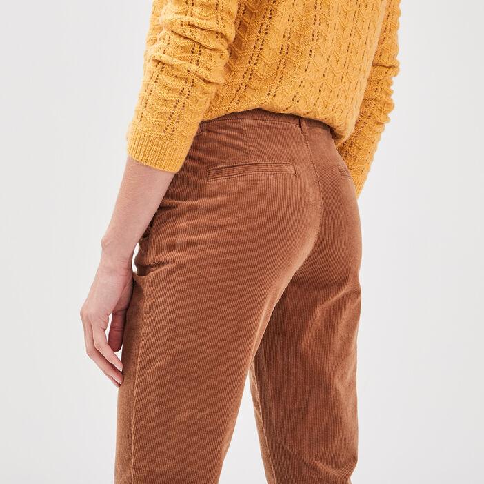 Pantalon chino velours côtelé marron femme