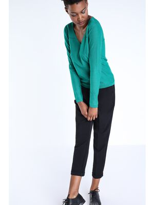 pantalon droit femme taille haute noir