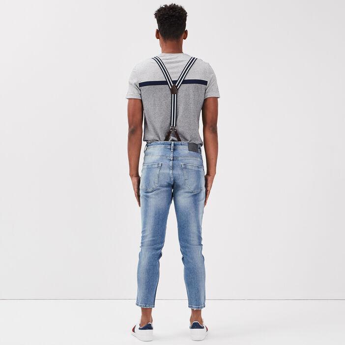 Jeans straight avec bretelles denim used homme
