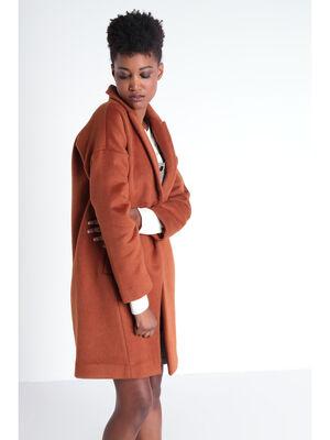 Manteau droit col a revers orange fonce femme