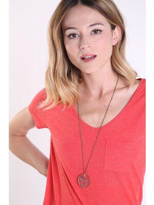 Collier avec pendentif perles couleur or femme