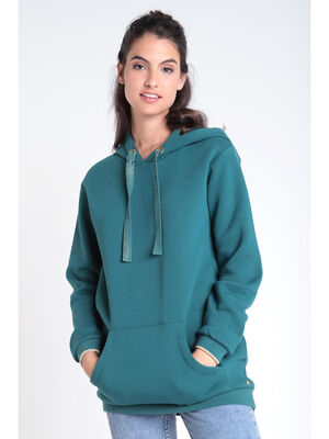Sweat manches longues capuche vert canard femme