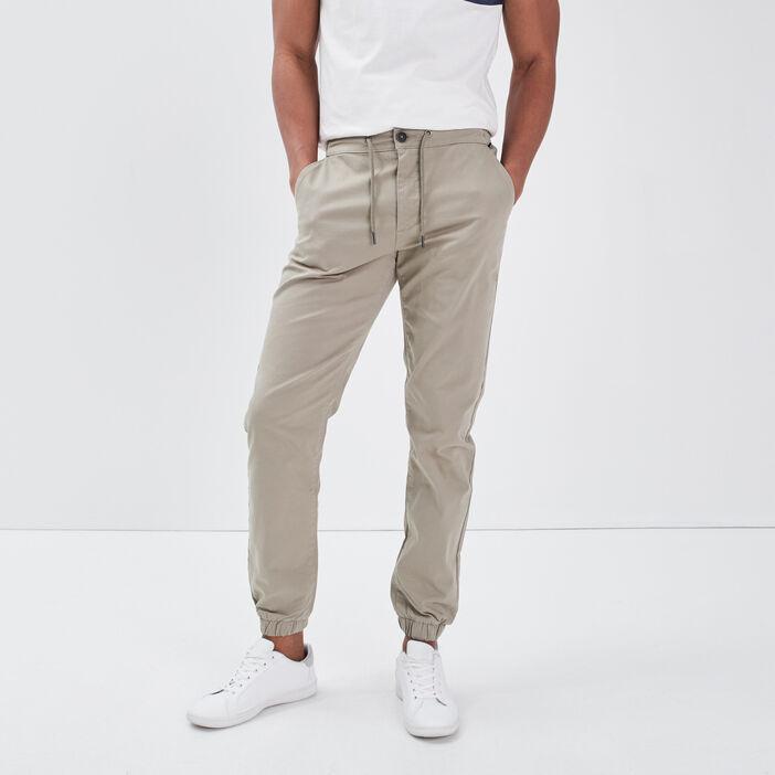 Pantalon chino bas élastiqué vert kaki homme